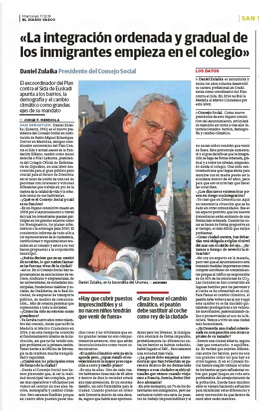 Entrevista a Daniel Zulaika, presidente del Consejo Social, en el Diario Vasco