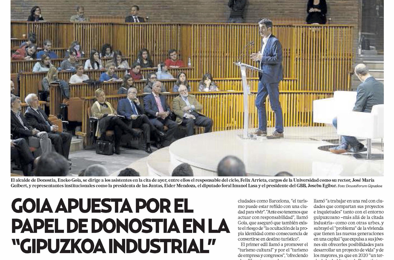Goia apuesta por el papel de Donostia en la Gipuzkoa industrial