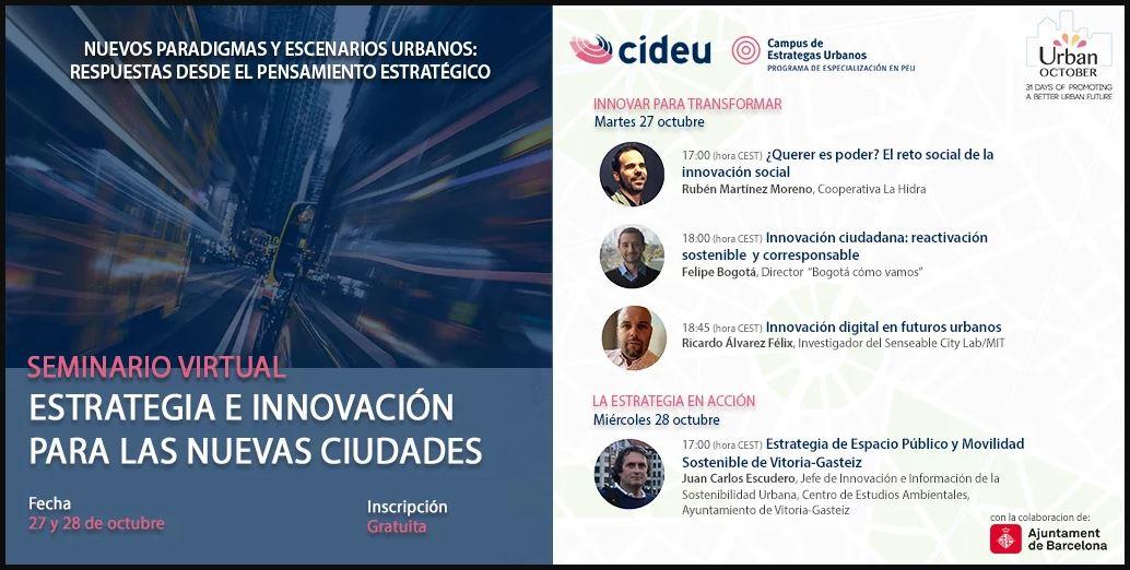 """Webinar de CIDEU: """"Estrategia e Innovación para las Nuevas Ciudades"""""""