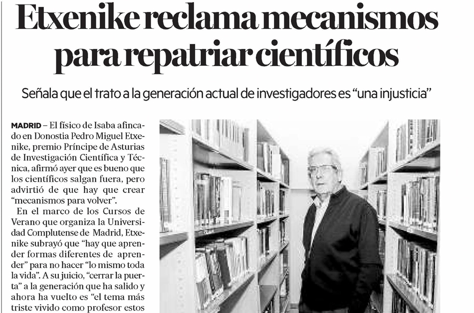 Etxenike reclama mecanismos para repatriar científicos