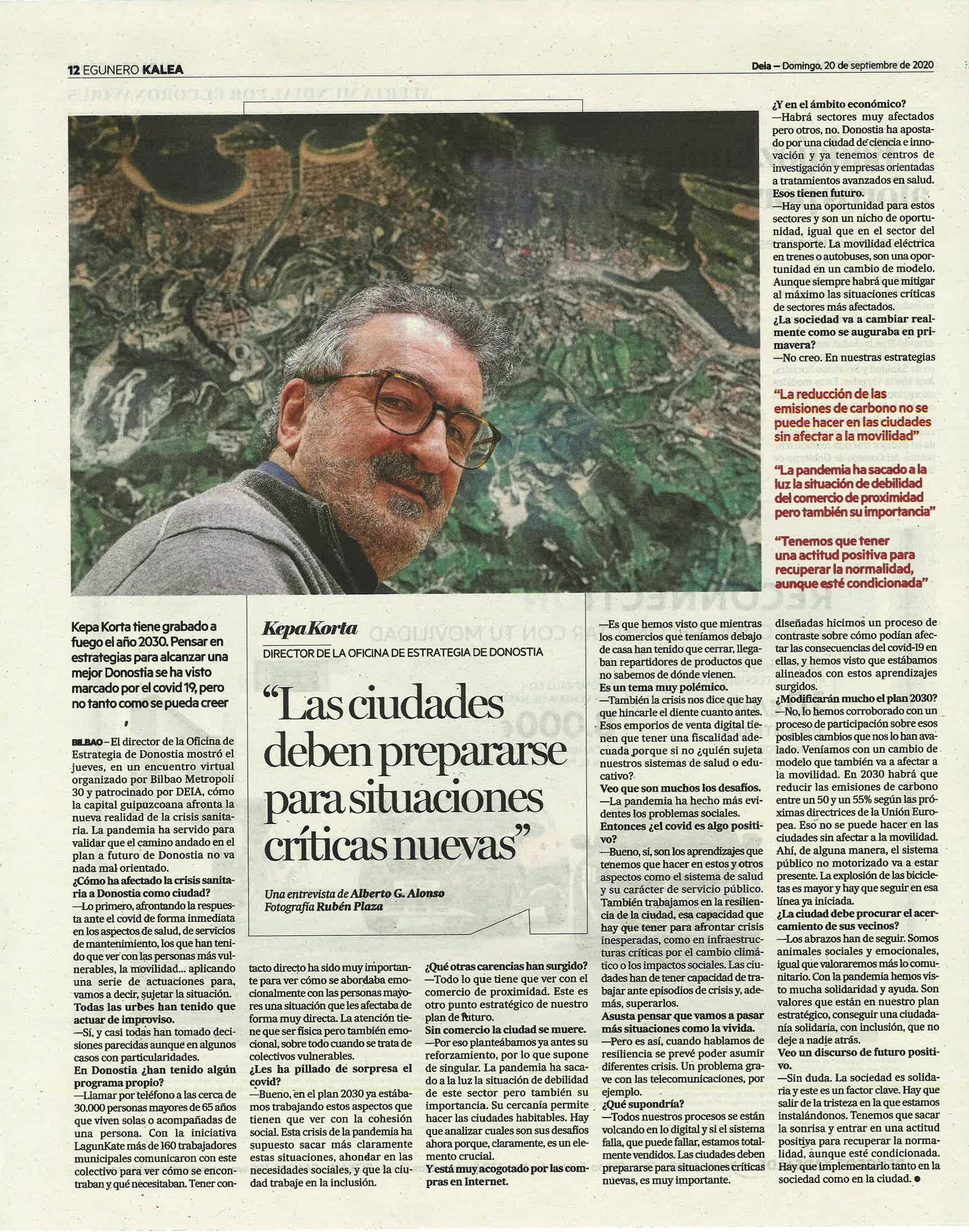 Entrevista a Kepa Korta, director de la Oficina de Estrategia de Donostia / San Sebastián