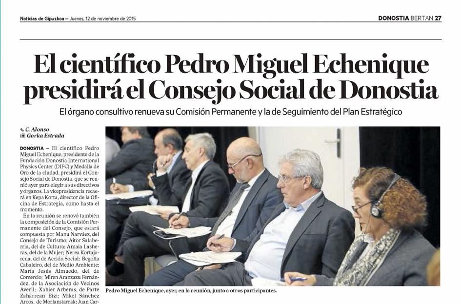 El científico Pedro Miguel Echenique presidirá el Consejo Social de Donostia