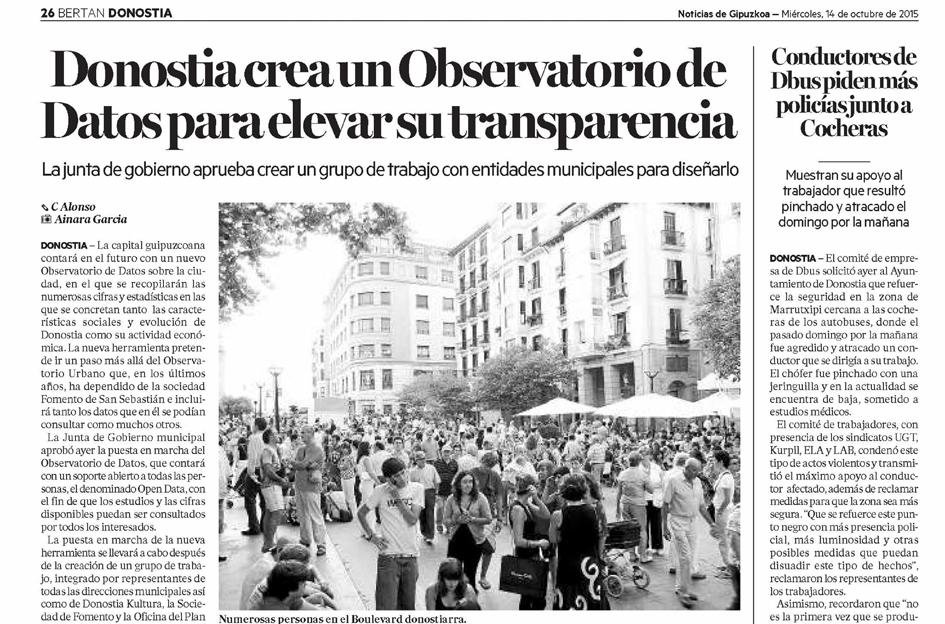 Donostia crea un Observatorio de Datos para elevar su transparencia